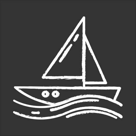 Sailing chalk icon. Watersport, extreme kind of sport. Yachting, swimming and navigation. Voyage, boat on ocean waves. Summer vacation activity and hobby. Isolated vector chalkboard illustration Illustration