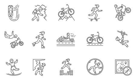 Extreme sports linear icons set. Mountaineering. Spelunking. Cycling, rollerskating. Motorsport. Orienteering skill. Thin line contour symbols. Isolated vector outline illustrations, Editable stroke