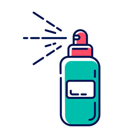Body spray bottle blue color icon. Depilation, waxing aftercare moisturizing product. Natural, organic skin care. Professional beauty treatment cosmetics. Isolated vector illustration Illusztráció