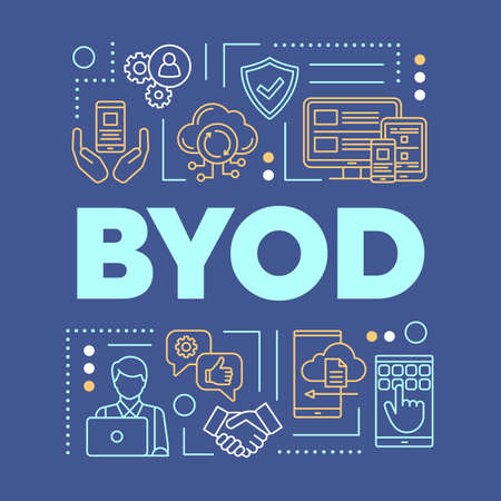 BYOD word concepts banner. Using personal gadgets on workplace. Bring your own device. Presentation, website. Isolated lettering typography idea with linear icons. Vector outline illustration