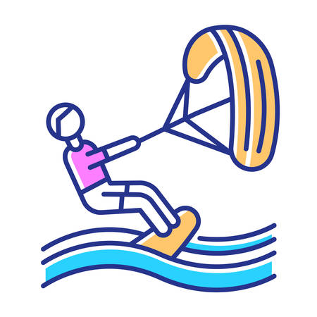 Kiteboarding color icon. Watersport, extreme kind of sport. Summer vacation activity and hobby. Catching wave and power of wind. Risky and adventurous beach leisure. Isolated vector illustration Vectores