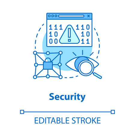 Security concept icon. Privacy protection idea thin line illustration. Confidential data encryption. Cybersecurity and safety. Digital authorization. Vector isolated outline drawing. Editable stroke Illustration