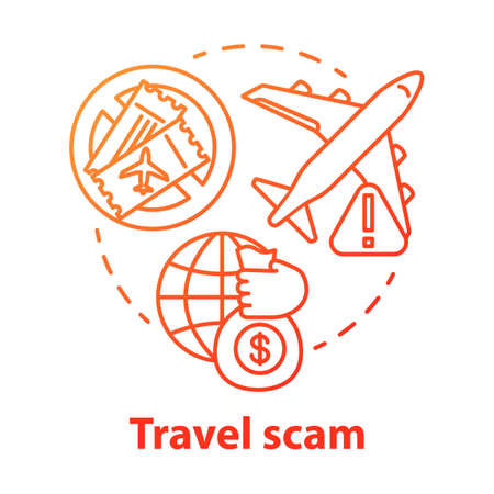 Travel scam concept icon. Journey dangers. Fake tourist tour winning. Financial fraud. Hidden costs in cheap trip idea thin line illustration. Vector isolated outline drawing Reklamní fotografie - 133567514