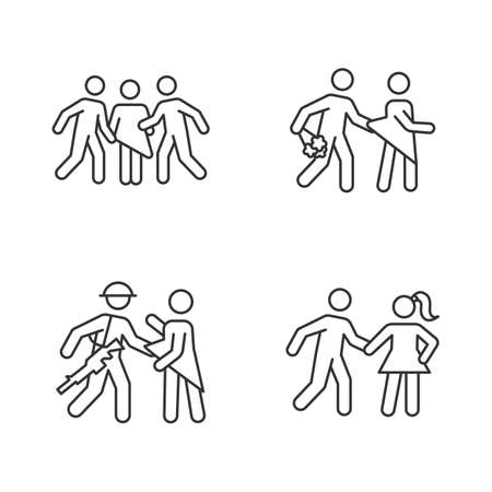 Different rape types linear icons set. Sexual harassment of women. Date, statutory, war and gang rape. Thin line contour symbols. Isolated vector outline illustrations. Editable stroke