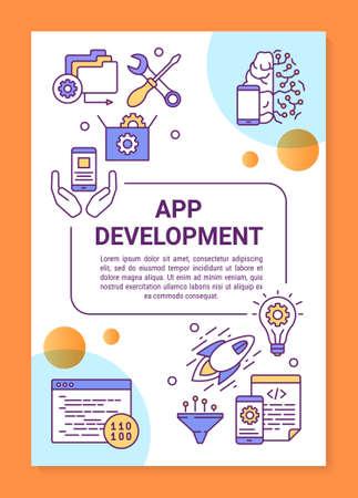 Layout der App-Entwicklungsplakatvorlage. Mobile Programmierung. Kabellose Technologie. Banner, Broschüre, Broschürendruckdesign mit linearen Symbolen. Vektorbroschürenseitenlayout für Zeitschriften, Werbeflyer Vektorgrafik