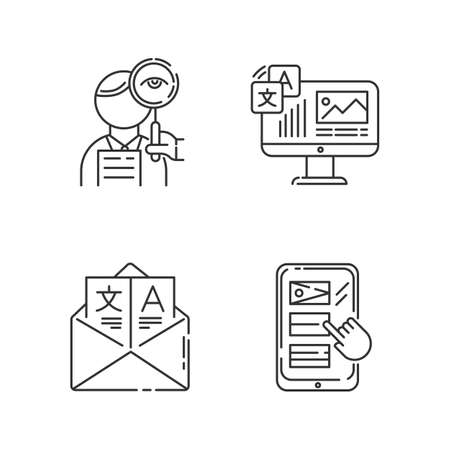 Translation linear icons set. Proofreading, website localization. Online dictionary . Email translation, DTP services. Thin line contour symbols. Isolated vector outline illustrations. Editable stroke Illustration