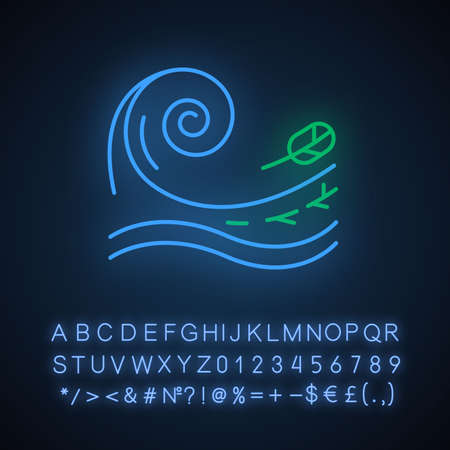 Tsunami neon light icon. Sea storm. Water splash. Groundswell. Tide. Flash flood. Ocean heavy wave and leaf. Glowing sign with alphabet, numbers and symbols. Vector isolated illustration Foto de archivo - 133528824