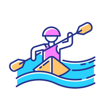 Kayaking color icon. Canoeing watersport, extreme underwater kind of sport. Recreational outdoor activity and hobby. Risky and adventurous leisure on boat with puddle. Isolated vector illustration
