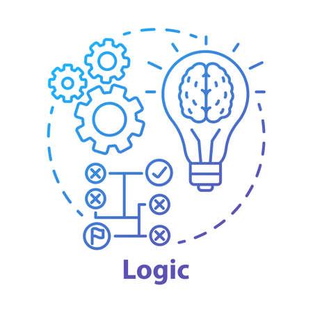 Icône de concept de dégradé bleu logique. Illustration de la ligne mince du processus de réflexion. Solutions rationnelles, idées. Analyse de la situation. Stratégie, algorithme. Résoudre les problèmes. Dessin de contour isolé de vecteur Vecteurs