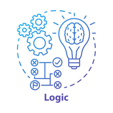 Logic blue gradient concept icon. Thinking process thin line illustration. Rational solutions, ideas. Situation analysis. Strategy, algorithm. Solving problems. Vector isolated outline drawing Vektoros illusztráció