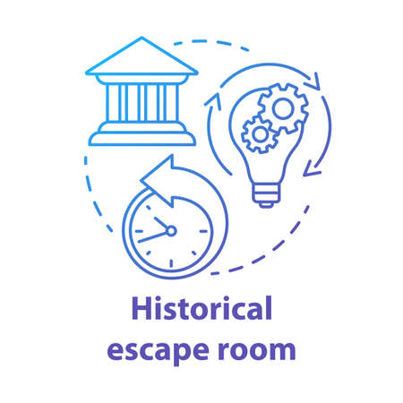 Historical escape room blue gradient concept icon. Theme quest idea thin line illustration. History subject. Back in time. Game about past, medieval, ancient times. Vector isolated outline drawing