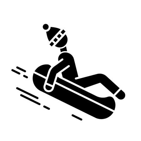 Snow tubing glyph icon. Winter extreme sport, risky activity and adventure. Cold season outdoor leisure for children and adults. Silhouette symbol. Negative space. Vector isolated illustration
