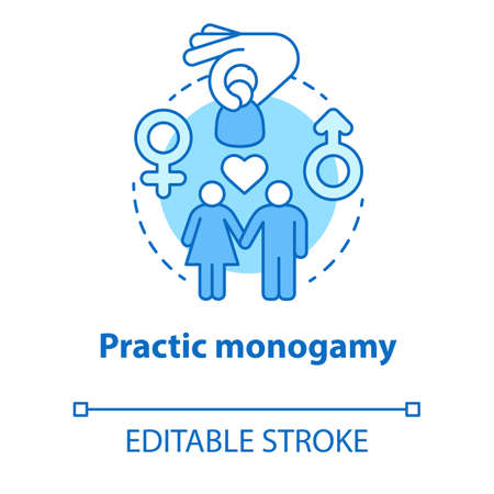 Practice monogamy concept icon. Safe sex. Intimate romantic relationship. Couple, lovers, partners healthcare idea thin line illustration. Vector isolated outline drawing. Editable stroke Vector Illustration