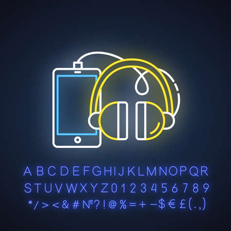 Phones and accessories neon light icon. Smartphone and headphones. E commerce department, online shopping categories. Glowing sign with alphabet, numbers and symbols. Vector isolated illustration