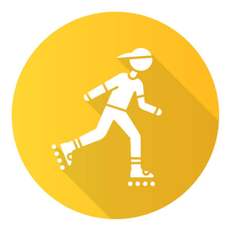 Inline skating yellow flat design long shadow glyph icon. Freestyle rollerblading. Fitness skating.