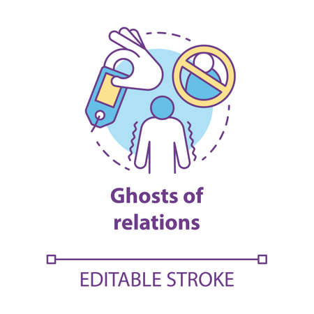 Ghost of relations concept icon. Ghosting. Breaking off relationship. Stopping communication and contact with partner idea thin line illustration. Vector isolated outline drawing. Editable stroke Banco de Imagens