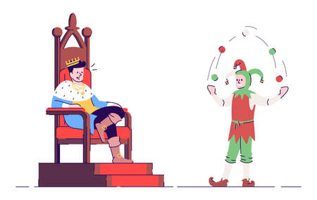 Medieval king and jester flat vector illustration. Royalty and harlequin isolated cartoon characters with outline elements on white background. Sovereign and fool. Middle Age personages