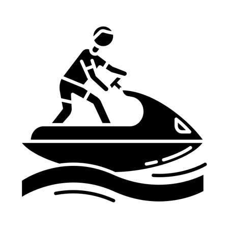 Jetskiing glyph icon. Summer activity. Jet ski riding. Man on water scooter. Watersports, extreme and dangerous kind of sport. Silhouette symbol. Negative space. Vector isolated illustration 版權商用圖片