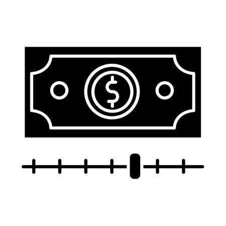 Cash advance glyph icon. Increasing budget graph report. Budget growing. Finances managment. Smart investment with percentage gain. Silhouette symbol. Negative space. Vector isolated illustration