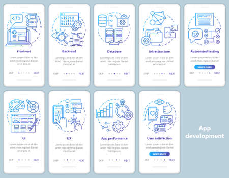 Application development onboarding mobile app page screen vector template. Software programming. Walkthrough website steps with linear illustrations. UX, UI, GUI smartphone interface concept