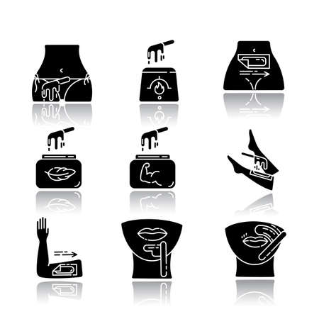 Waxing drop shadow black glyph icons set. Bikini, leg, upper lip, chin hair removal. Hot wax in jar with spatula. Depilation equipment. Professional beauty treatment. Isolated vector illustrations Archivio Fotografico - 133494651