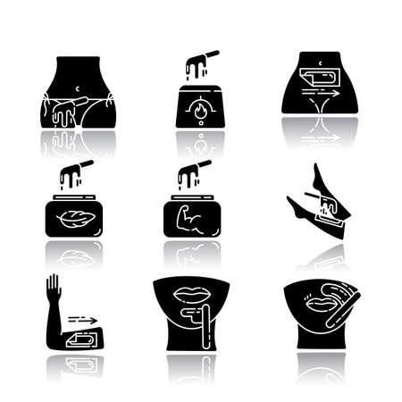Waxing drop shadow black glyph icons set. Bikini, leg, upper lip, chin hair removal. Hot wax in jar with spatula. Depilation equipment. Professional beauty treatment. Isolated vector illustrations