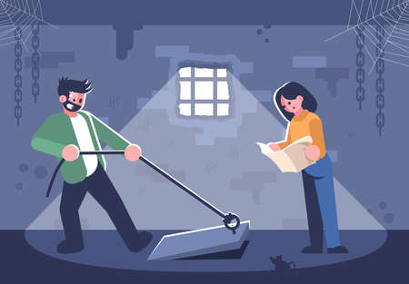 Couple in quest room flat vector illustration. Young woman reading map, man opening basement door cartoon characters. Friends in escape room searching exit. Modern entertainment, logic game