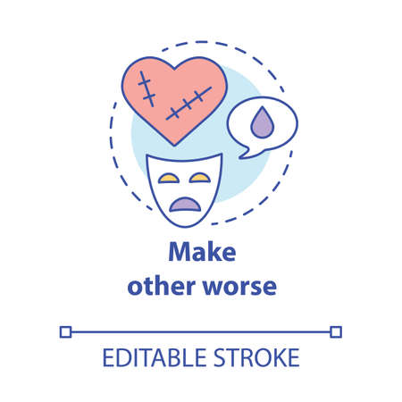 Make other worse concept icon. Blaming partner for breaking up relationship. Dramatic divorce. Victim complex idea thin line illustration. Vector isolated outline drawing. Editable stroke