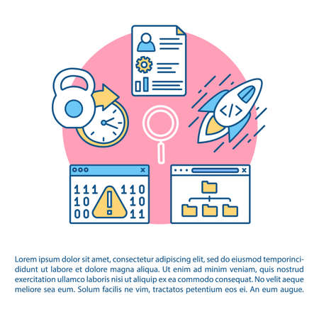 Software development article page vector template. Coding. Usabilty testing. Bug fixes. Brochure, magazine, booklet design element with linear icons. Print design. Concept illustrations with text