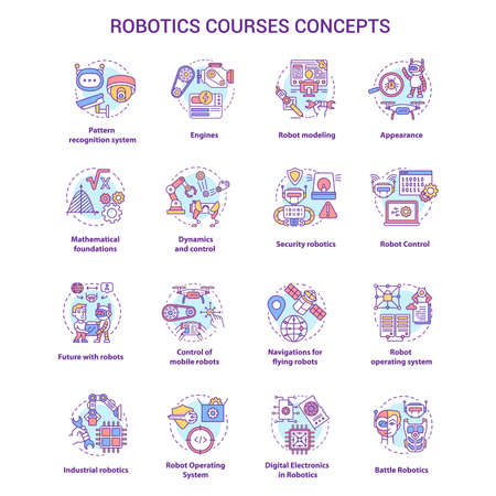 Robotics courses concept icons set. Creating robots idea thin line illustrations. Making electronics, devices. Lessons of robot modelling. Vector isolated outline drawings. Editable stroke