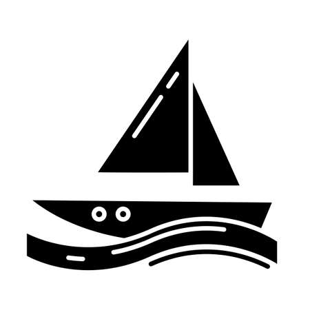 Sailing glyph icon. Watersport, extreme kind of sport. Yachting, swimming and navigation. Voyage, boat on ocean waves. Silhouette symbol. Negative space. Vector isolated illustration