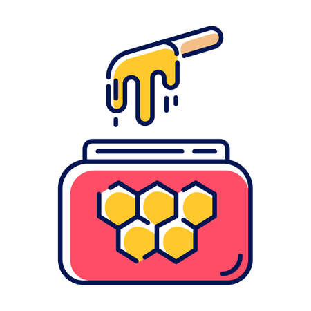 Honey waxing color icon. Natural soft cold wax in jar with spatula. Body hair removal equipment. Tools for depilation. Professional beauty treatment cosmetics. Isolated vector illustration Reklamní fotografie - 133494683