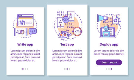 App development onboarding mobile app page screen with linear concepts. Writing, testing, deploying program walkthrough 3 steps graphic instructions. UX, UI, GUI vector template with illustrations
