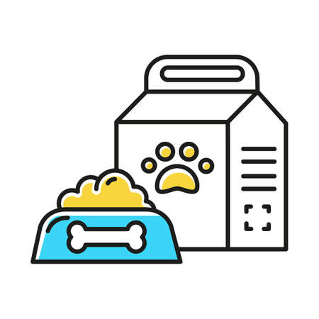 Pet supplies color icon. Animal food products in bowl and package. Treats for dogs and cats. Snack for kitten, puppy. E commerce department, online shopping categories. Isolated vector illustration 写真素材 - 133494740