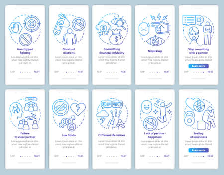 Relationship in trouble onboarding mobile app page screen with linear concepts set. Lack of partners happiness walkthrough steps graphic instructions. UX, UI, GUI vector template with illustrations 版權商用圖片