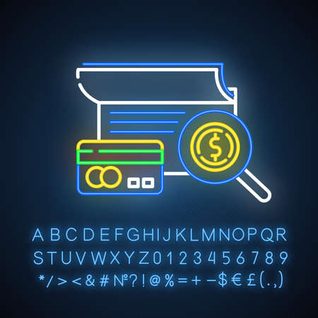 Verifying credit history neon light icon. Examining personal loan payment. Financial report. Economy business. Glowing sign with alphabet, numbers and symbols. Vector isolated illustration
