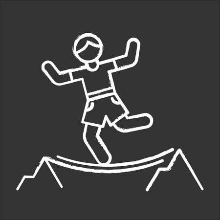 Highlining chalk icon. Slacklining. Walking and balancing on tightrope. Slackliner in mountains. Extreme sport stunt. Walker on rope. Isolated vector chalkboard illustration