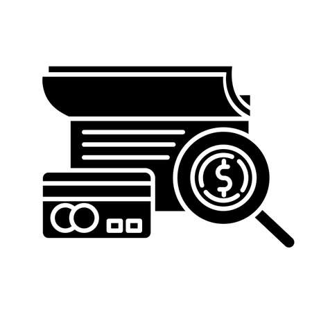 Verifying credit history glyph icon. Examining personal loan payment. Financial report. Economy business. Investment, budget graph. Silhouette symbol. Negative space. Vector isolated illustration Foto de archivo