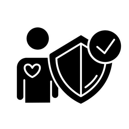 Life insurance glyph icon. Investment in personal healthcare. Protection, secure living. Social coverage. Safeguard, immunity. Silhouette symbol. Negative space. Vector isolated illustration