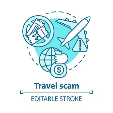 Travel scam concept icon. Journey dangers. Fake tourist tour winning. Financial fraud. Hidden costs in cheap trip idea thin line illustration. Vector isolated outline drawing. Editable stroke