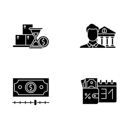 Credit glyph icons set. Monthly icome increase report. Personal loan. Credit manager. Cash advance. Bank building. Credit bureau. Borrow money. Silhouette symbols. Vector isolated illustration