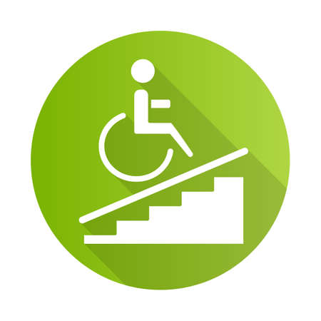 Wheelchair access green flat design long shadow glyph icon. Accessible to handicap people. Wheelchair ramp sign. Apartment amenities. Architectural barriers. Vector silhouette illustration