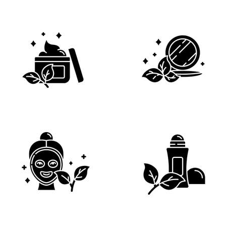 Organic cosmetics glyph icons set. Face cream. Pressed makeup powder. Facial mask. Deodorant, antiperspirant. Paraben free beauty products. Skincare. Silhouette symbols. Vector isolated illustration