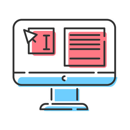 Website localization, DTP services color icon. Text editing, mistake correction. Document page layout. Graphic processing. Website localization. Isolated vector illustration