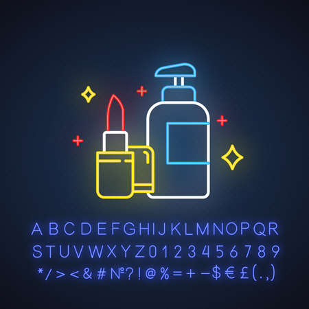 Beauty and personal care neon light icon. Makeup and skincare products. E commerce department, online shopping categories. Glowing sign with alphabet, numbers and symbols. Vector isolated illustration