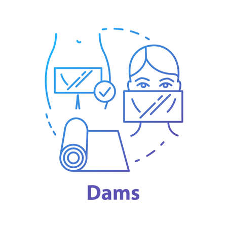 Dams blue concept icon. Female healthcare. Uterus, womb disease risk prevention. Precaution for healthy intimate relationship idea thin line illustration. Vector isolated outline drawing