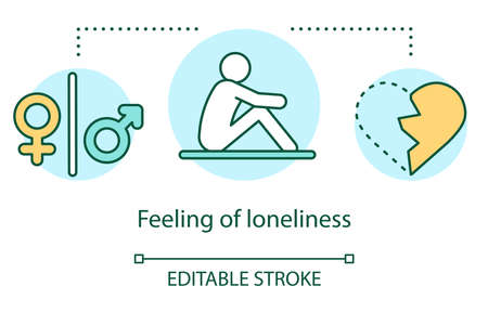 Feeling of loneliness concept icon. Breakup, relationship trouble idea thin line illustration. Gender symbols, depressed person and broken heart vector isolated outline drawing. Editable stroke