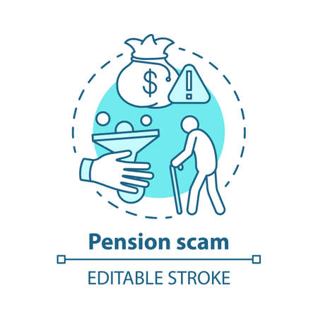 Pension scam concept icon. Fraud to retired person. Danger of losing savings. Illegal cheme Financial deception of elderly idea thin line illustration. Vector isolated outline drawing. Editable stroke