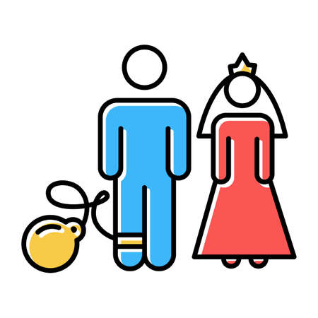 Forced marriage color icons set. Woman and man, groom and bride. Family burden. Forcible wedlock. Compulsory marriage. Female, male rights. Relationship with no consent. Isolated vector illustrations