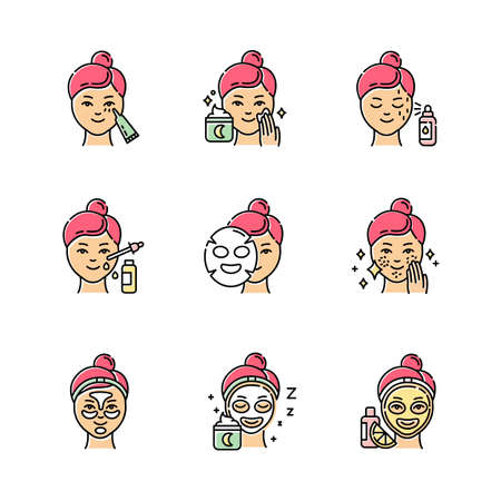 Skin care procedures color icons set. Night time beauty routine. Applying undereye cream. Sheet cotton mask. Spot treatment. Hydrogel patches. Vitamin C serum. Isolated vector illustrations